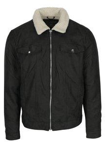 Černá koženková bunda s umělým kožíškem Jack & Jones Rob