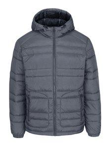 Sivá prešívaná bunda s kapucňou Jack & Jones New Favorite