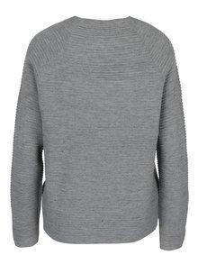 Svetlosivý rebrovaný sveter s vreckami VERO MODA Natascha