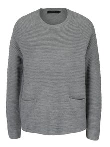 Světle šedý žebrovaný svetr s kapsami VERO MODA Natascha