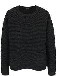 Tmavosivý rebrovaný sveter s vreckami VERO MODA Natascha