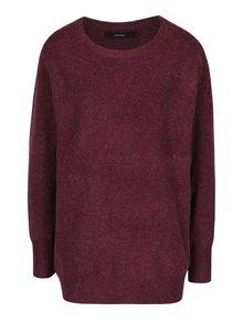 Vínový žíhaný oversize svetr s příměsí vlny z alpaky VERO MODA Colma