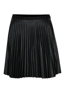 Čierna koženková plisovaná sukňa VERO MODA Josefine