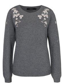 Sivý sveter s výšivkami VERO MODA Capitola