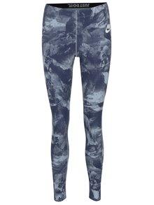 Modré dámske vzorované športové legíny Nike Sportswear Glacier