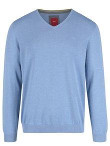 Svetlomodrý pánsky sveter s véčkovým výstrihom s.Oliver