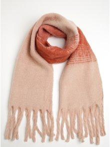 Červeno-ružový šál so strapcami VERO MODA Lauren