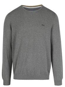 Sivý melírovaný pánsky sveter s výšivkou s.Oliver