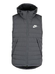 Šedá pánská prošívaná péřová vesta s kapucí Nike Sportswear Down