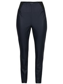 Tmavomodré koženkové legíny s čiernymi detailmi Garcia Jeans