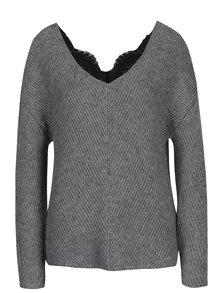 Sivý sveter s prímesou vlny z alpaky VERO MODA Buena