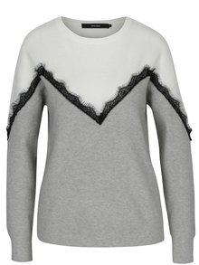 Krémovo-šedý svetr s krajkovými detaily VERO MODA Smilla