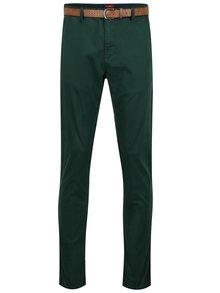 Pantaloni chino verde închis și curea maro pentru bărbați-  s.Oliver