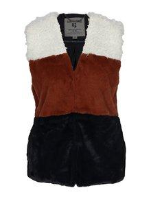 Krémovo-hnedá dámska vesta z umelej kožušiny Garcia Jeans