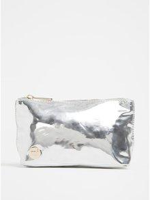 Metalická dámská kosmetická taštička ve stříbrné barvě Mi-Pac Make Up Bag