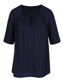 Bluză bleumarin cu pliuri și mărgele VERO MODA Petra