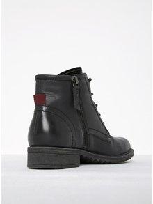 Čierne kožené členkové topánky so zipsom Tamaris