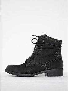 Čierne kožené členkové topánky na zips Tamaris