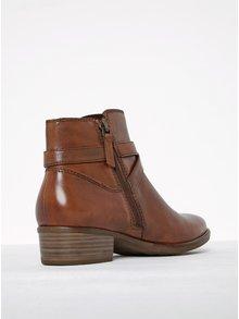 Hnedé kožené členkové topánky s tenkým remienkom a prackou Tamaris