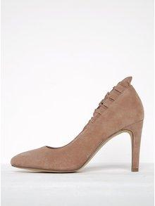 Pantofi roz pudrat din piele întoarsă cu toc înalt - Tamaris