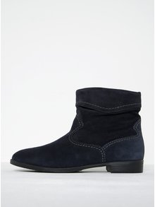 Tmavomodré semišové členkové topánky s prešívanými detailmi Tamaris