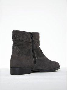 Tmavosivé semišové členkové topánky s prešívanými detailmi Tamaris