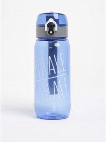 Modrá fľaša na vodu so systémom uzamykania Loooqs Inhale Exhale (600 ml)