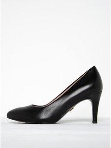 Pantofi negri din piele naturală cu toc mediu - Tamaris