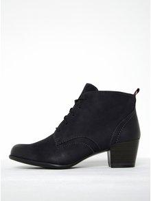 Tmavomodré kožené členkové topánky na podpätku Tamaris