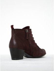 Vínové kožené kotníkové boty na podpatku Tamaris
