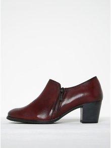 Vínové kožené boty se zipem a gumovou vsadkou na podpatku Tamaris