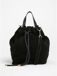 Čierna semišová kabelka/vak s doplnkami v zlatej farbe Pieces Rissa