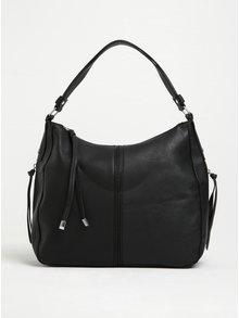 Černá větší kabelka s detaily ve stříbrné barvě Pieces Justine