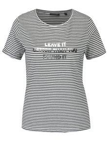 Tricou alb&negru cu print metalic Broadway Maike