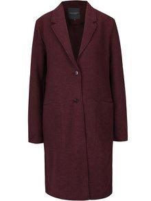 Vínový dámský dlouhý vlněný kabát Broadway Mardie