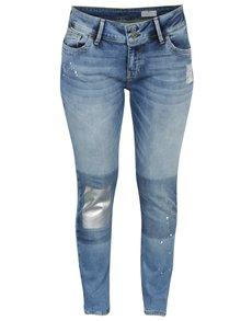 Modré dámske high waist skinny rifle s vysokým pásom a potlačou Cross Jeans