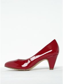 Pantofi roșii lăcuiți cu toc masiv Tamaris