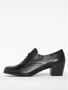Pantofi negri din piele cu șiret și toc pătrat Tamaris