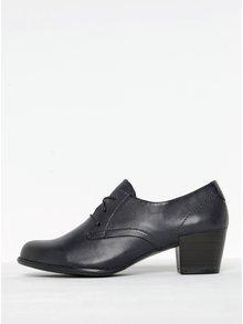 Pantofi bleumarin din piele cu toc pătrat Tamaris
