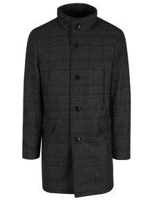 Šedý kostkovaný kabát s příměsí vlny Selected Homme Mosto