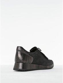 Pantofi negri cu aplicații argintii din piele de reptilă Tamaris