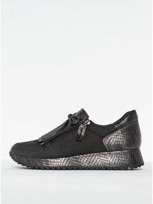 Sivo-čierne kožené tenisky na platforme so strapcami Tamaris