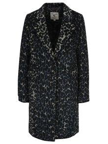 Modro-čierny dámsky vzorovaný kabát s prímesou vlny Garcia Jeans