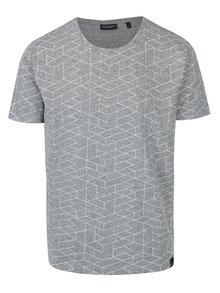 Tricou gri&alb cu print geometric Broadway Nello