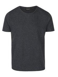 Tmavě šedé žíhané pánské tričko s krátkým rukávem Broadway Kirk