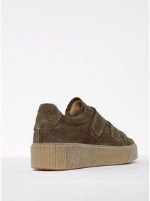 Pantofi sport kaki din piele întoarsă Tamaris