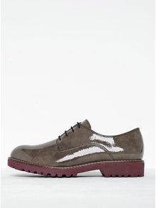 Pantofi gri închis din lac cu șiret Tamaris