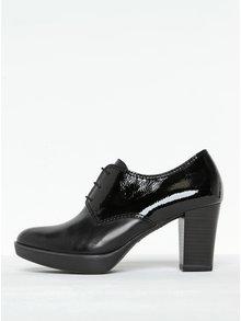 Pantofi negri din piele cu detalii lăcuite Tamaris