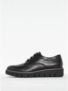 Pantofi negri din piele cu șiret Tamaris