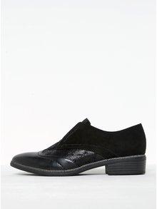 Pantofi negri din piele întoarsă cu aplicații Tamaris